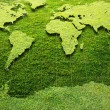 图库照片: Green Grass World map