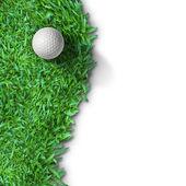 Witte golf ball op groen gras geïsoleerd — Stockfoto