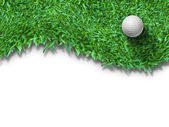 White golf ball on green grass isolated — Photo
