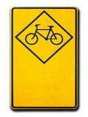Yellow warning signs bicycle — Foto de Stock