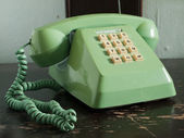 Old green telephone — Stock Photo