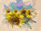 Sunflower watercolor — Stockfoto
