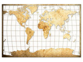 Old Brown paper World map — Stock Photo