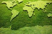 Mapa světa zelené trávy — Stock fotografie