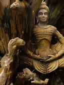 Buddha bild trä snidade — Stockfoto