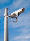 Surveillance Camera mounted on apole steel — Stock Photo