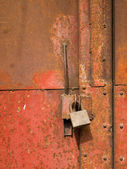 Full metal door with rust — Stock Photo