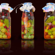 Jars with conserved vegetables for kitchen decoration — Stock Photo