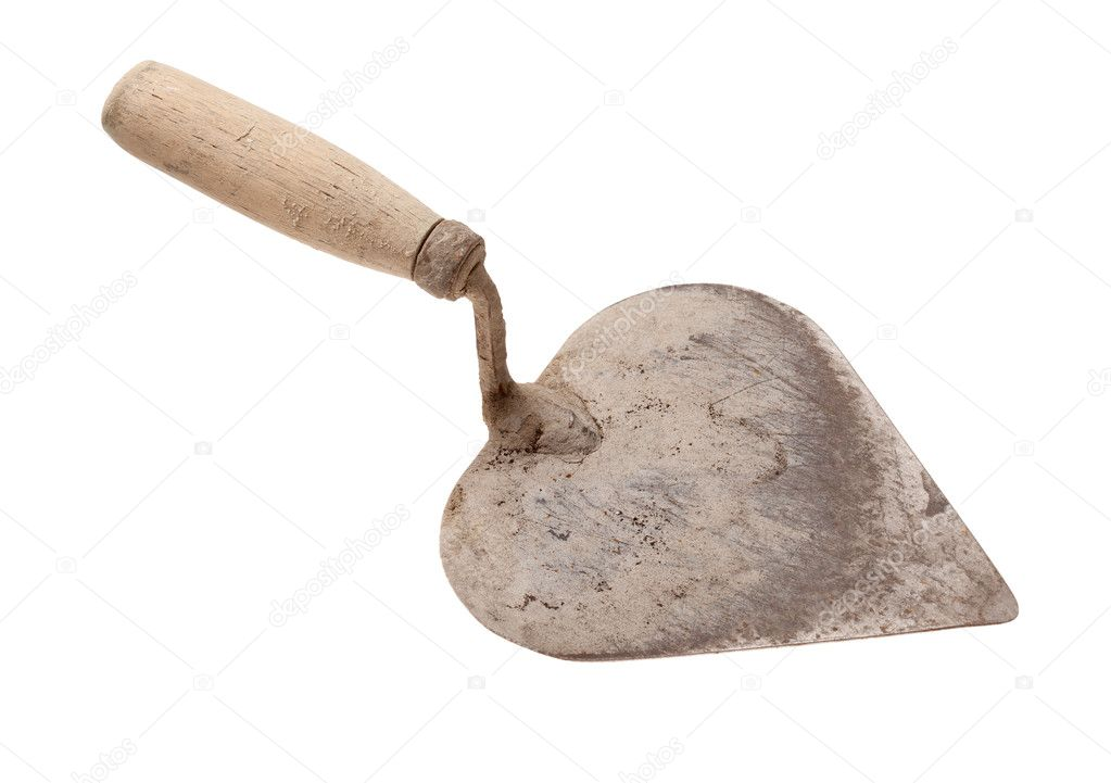 Old trowel is isolated on a white background  Stock Photo #5613645