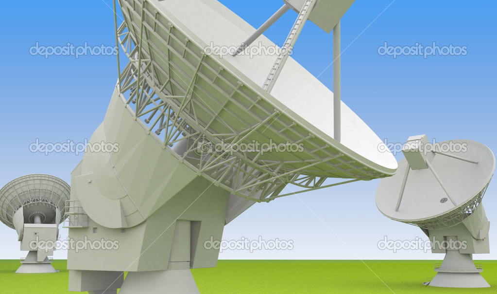 Large radio antenna of the very large array faces up into sky — Stock Photo #5867515