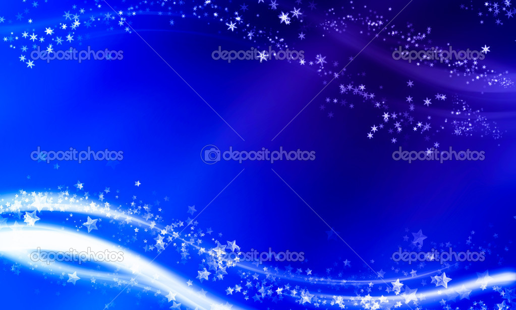 Magical Christmas background with snowflakes and stars  Stock Photo #6103354