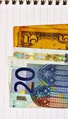 Notas de euro e dólar — Foto Stock
