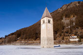 famous church in the Reschensee — Stock Photo