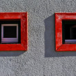 Red wooden windows — Stok fotoğraf