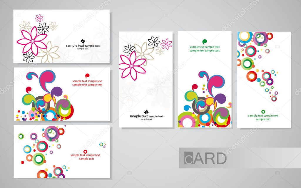 Colored business cards on a white background, set horizontal and vertical — Stock Vector #5776008