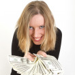 Young woman with us dollars and greedy smile — Stock Photo #5756230