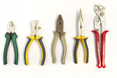 Set of different used pliers — Stock Photo