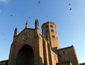 Pigeons on Basilica of saint antonino — Stock Photo