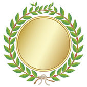 Laurel wreath with medal — Stock Vector