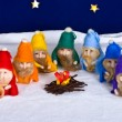 Seven rainbow dwarfs - Stock Photo