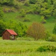 Red cottage in nature — Stock Photo