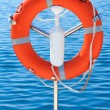 Safety orange buoy on ship — Stock Photo