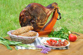 Ham on the table — Stock Photo
