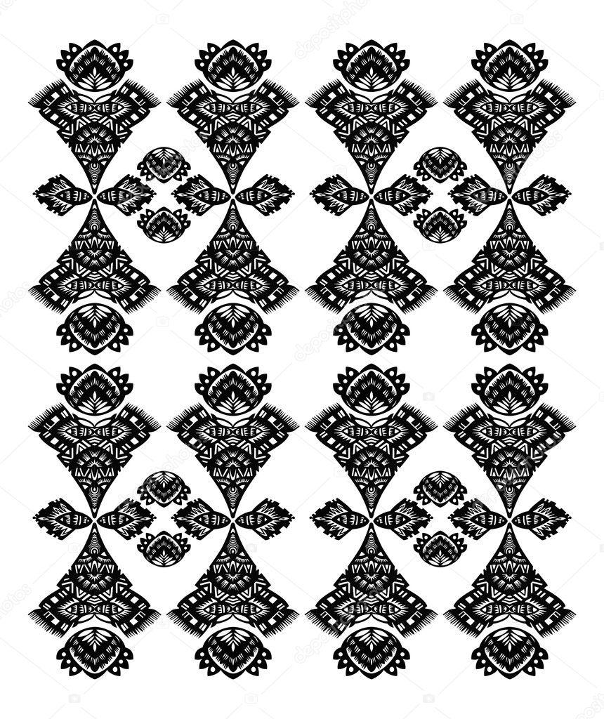Decorative floral pattern black on a white background — Stock Vector #6314941
