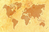 World map on aged grungy paper — Stock Photo
