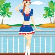 Stock Vector: Sailor girl