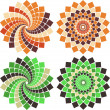 Vector mosaic flower — Stock Vector