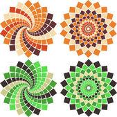 Vector mosaic flower — Stock Vector