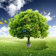Green tree growing out of a bulb — Stock Photo #5706840