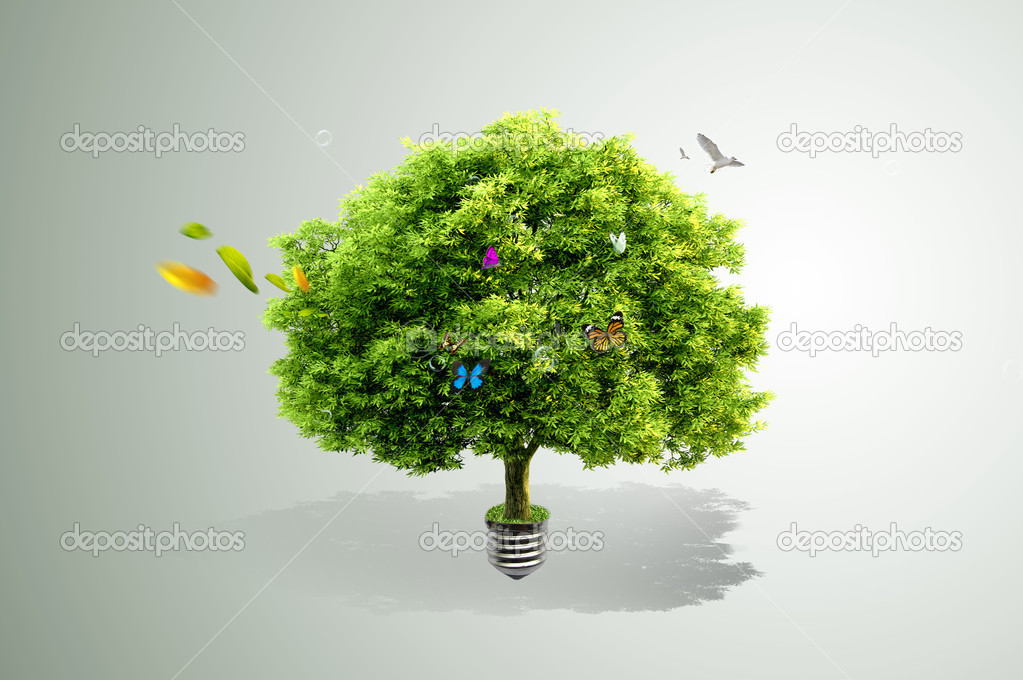 Green tree growing out of a bulb — Stock Photo #5706851
