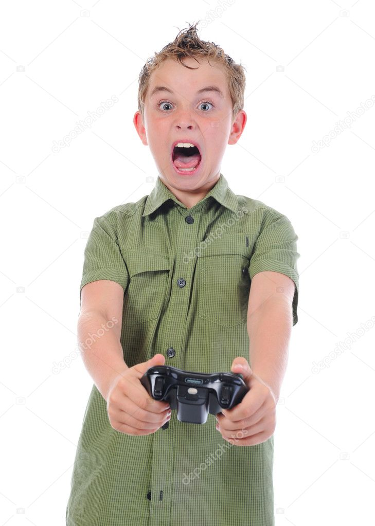 Funny boy with a joystick isolated on white background — Stock Photo #5914438