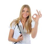 快乐的年轻商业女子肖像 — 图库照片