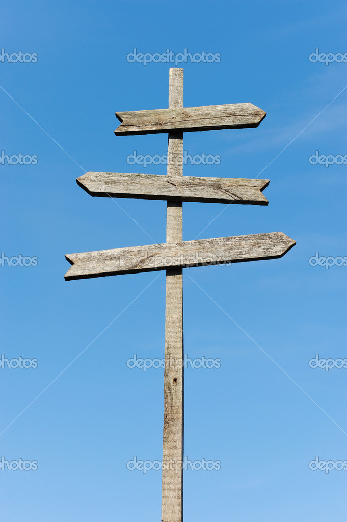 Wooden blank sign post — Stock Photo © Lebval #6645554