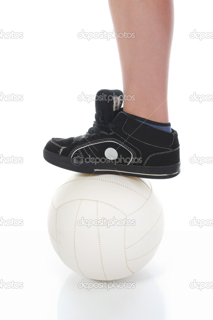 Leg of the soccer player with ball. Isolated on white background — Stock Photo #6680612