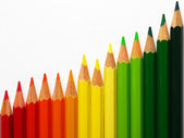 Colored crayons with white background — Stock Photo