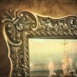 Gilded mirror reflection of chandelier — Stock Photo