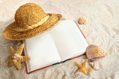 Book with straw hat and seashells in sand — Stock Photo