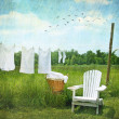 Laundry drying on clothesline — Foto Stock