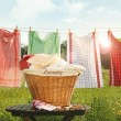 Cotton towels drying on the clothesline - Stock Photo