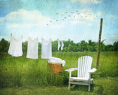 Laundry drying on clothesline — Stok fotoğraf