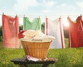 Bavlněné ručníky sušení na prádelní šňůru — Stock fotografie
