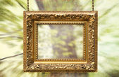 Gilded frame hanging with abstract background — Stock Photo