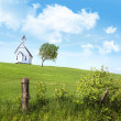 Old country school house  on a hill - Stock Photo