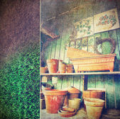 Lots of different size pots in the shed — Stock Photo
