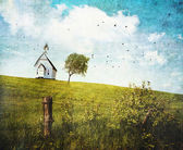 Old country school house on a hill — Stock Photo