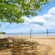 Picnic tables at the beach — Stock Photo